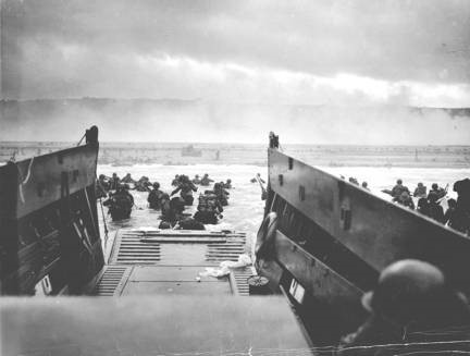 Robert F. Sargent, 'Landing Craft at Omaha Beach', June 6, 1944. Black and White photograph. United States Coast Guard photo