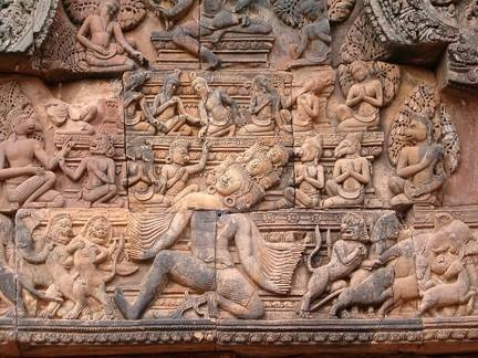 Bas-relief sculpture at the temple Banteay Srei, Angor, Cambodia. 10th century. Sandstone