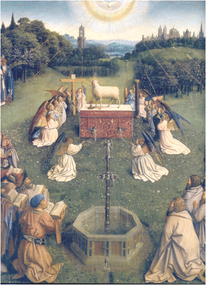 Jan Van Eyck, 'Adoration of the Lamb', detail from the Ghent Altarpiece, 1432. Oil on panel
