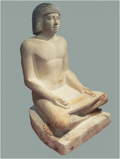 Egyptian, 'Scribe', 5th dynasty (2500 – 2350 BCE), painted limestone. The Louvre, Paris