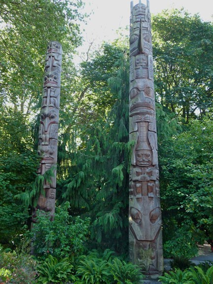 'Haida Totems', wood and paint, no date. Collection of the Burke Museum of Natural History, Seattle