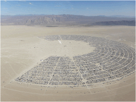 'Ariel view of the Burning Man Celebration', Black Rock City, Nevada