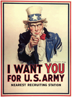 James M. Flagg, 'Uncle Sam Recruiting Poster', 1916. Library of Congress, Prints and Photographs Division, Washington, DC